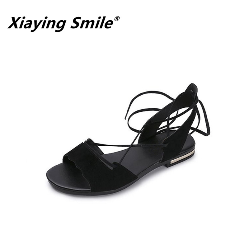 Xiaying Smile Summer Women Sandals Flats New Fashion Shoes For Women Casual Rome Style Flock Cross-tied Gladiator Student Shoes xiaying smile summer new woman sandals platform women pumps buckle strap high square heel fashion casual flock lady women shoes page 3