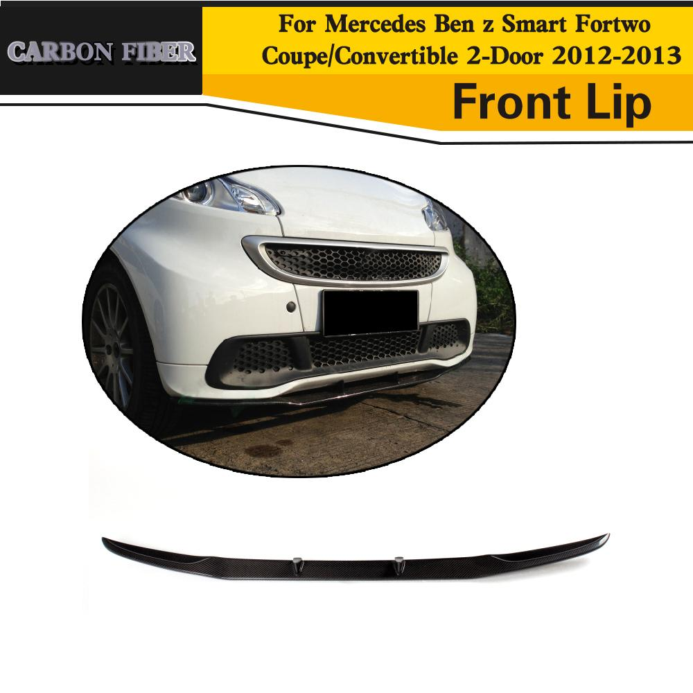 Carbon Fiber Car Front Bumper Lip Chin Spoiler Cover for Smart Fortwo Coupe Convertible 2-Door 2012-2013