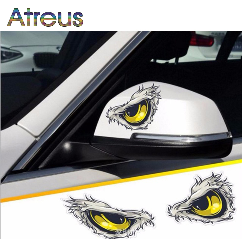 Atreus 2pc Car-Styling 3D Eagle Eyes Auto Stickers For Opel Insignia Vectra C Zafira B Peugeot 308 407 301 206 2008 3008 2017 ...