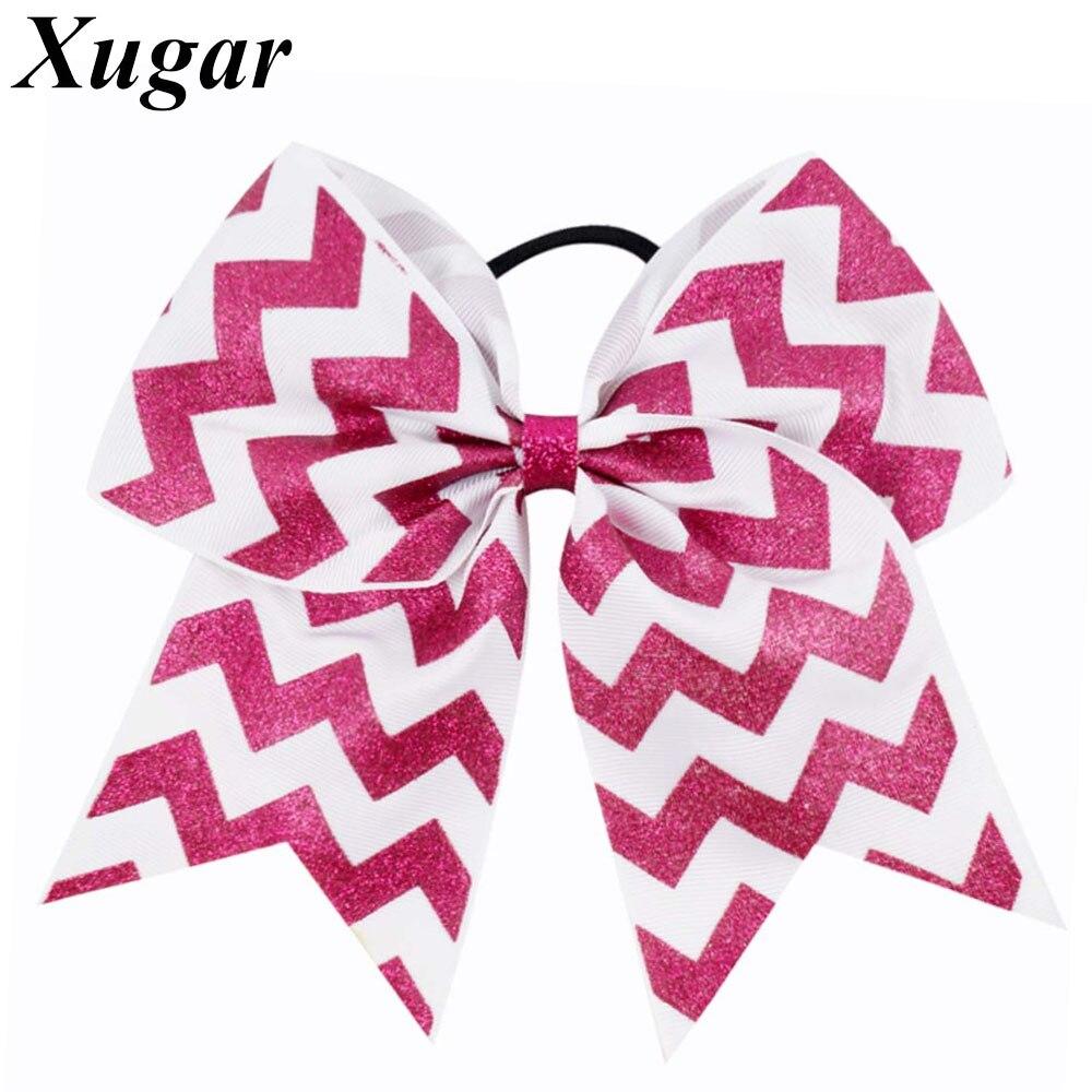 7/'/' Child Girls Large Cheer Bow Hair Cilps Rhinestone Cheerleading Accessories