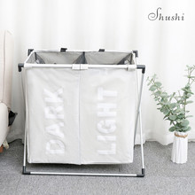 SHUSHI portable waterproof dirty basket bag organization collapsible metal laundry basket oxford folding laundry bags baskets