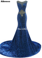 2016 Bling Paillettes Bleu Cristal Perlé Longue Sirène Robe de Soirée Robe de bal Illusion Cou Parti Robe Robes De Festa Robe De