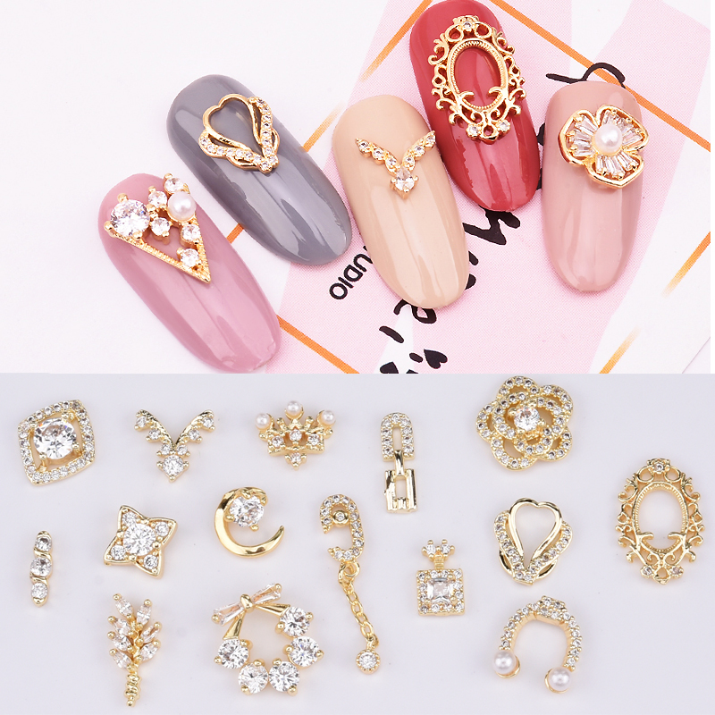 5pcs Zircon nail art crystal diamonds jewelry for nail decoration gold 3d nail charms chain flower moon wreath design TCJ416~430
