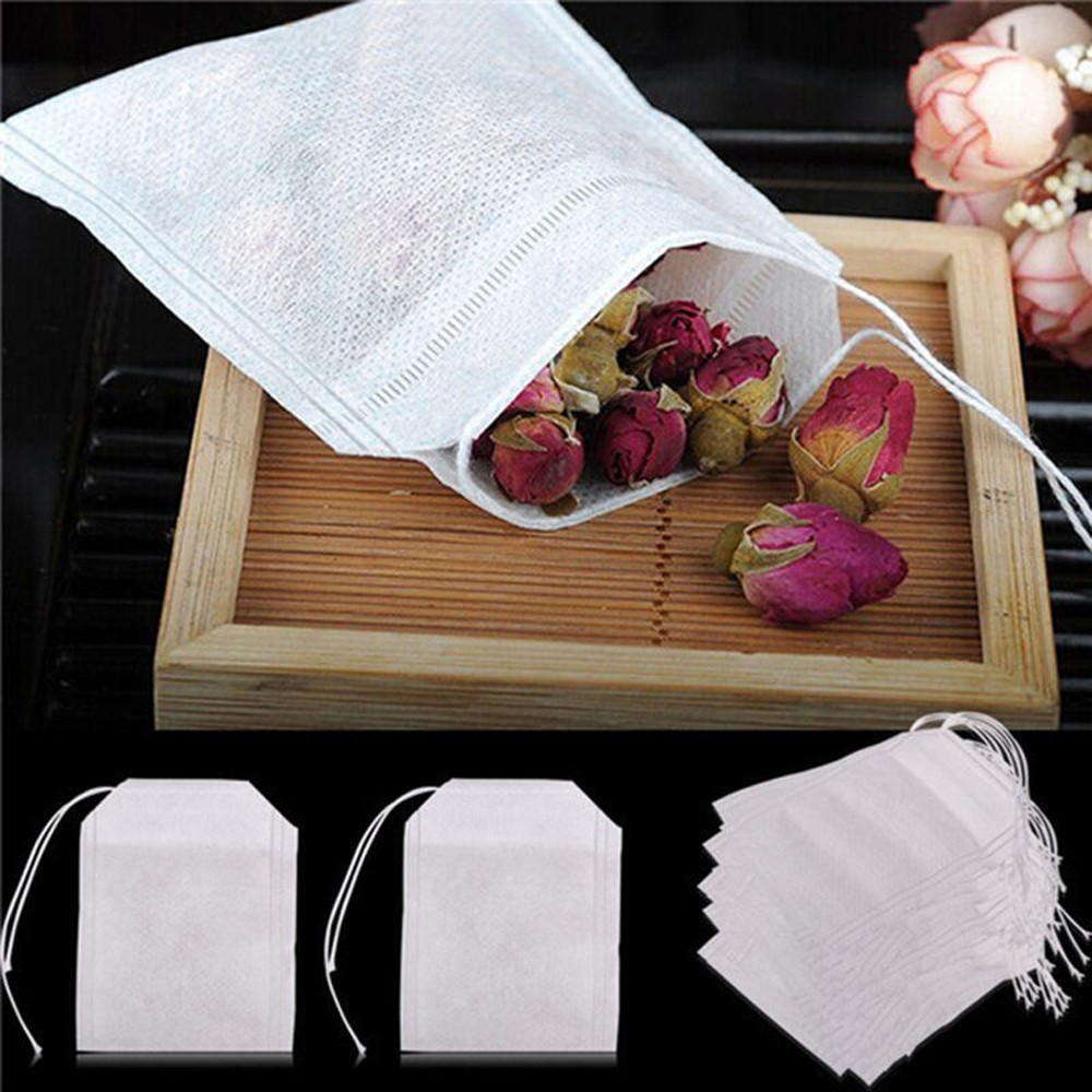 100 pçs/lote teabags 5.5x7 cm vazio scented chá sacos com corda curar selo filtro de papel para erva solta chá bolsas de te
