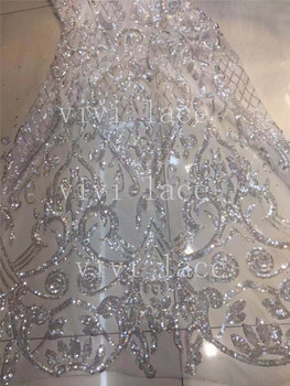 stock 5yards/lot  ju011# crystal white /rose gold  french luxury embroidery  tulle mesh lace  for bridal  wedding dress