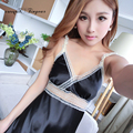 Good quality sexy sleeping gowns sleeveless hollow out lace breathable black night dress for sleep free shipping