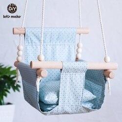 Vamos fazer balanços de bebê lona pendurado cadeira 13-24 meses pendurado brinquedos rede segurança bebê bouncer balancim balanço de madeira interior