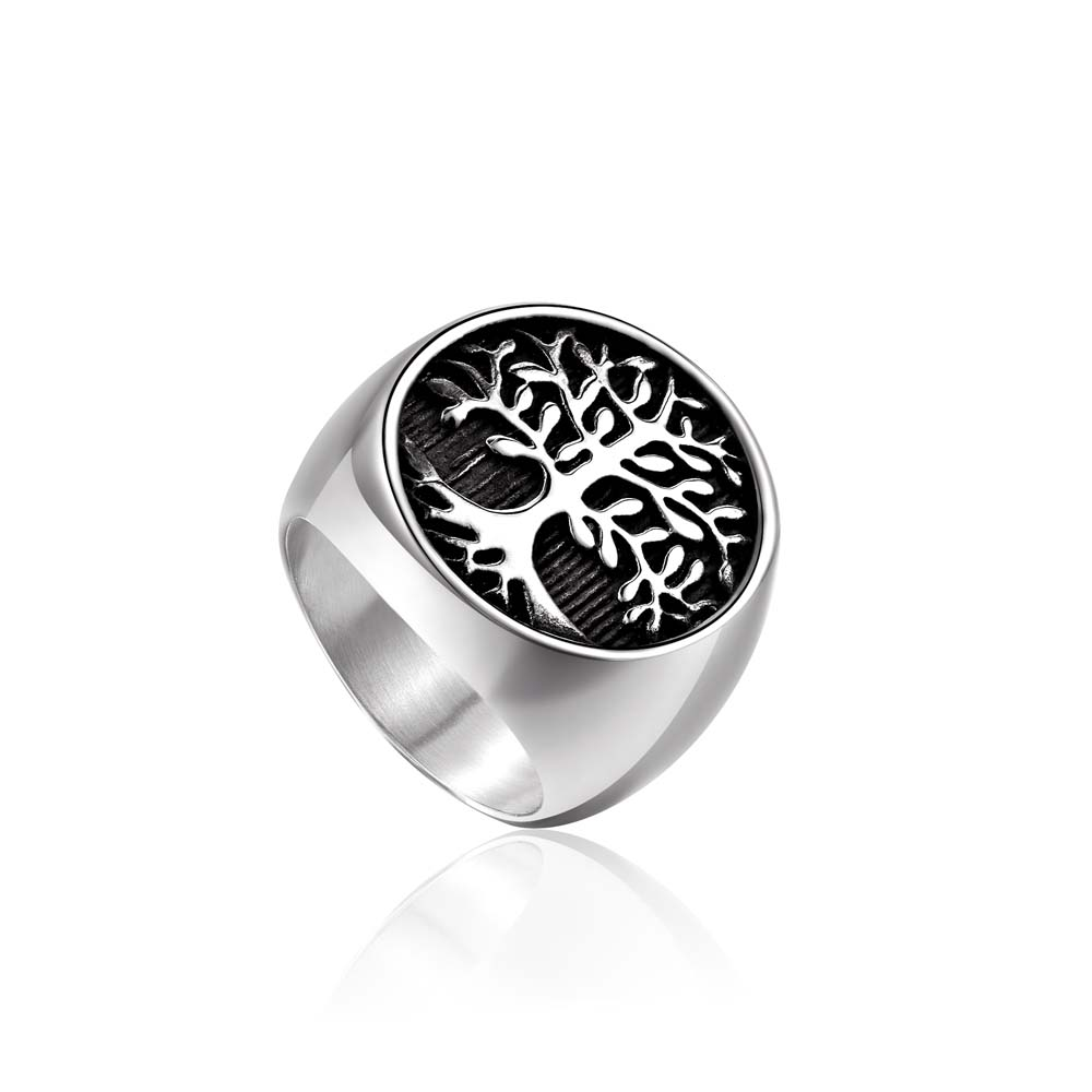 Hot Sale Titanium Steel Silver Gold Color Tree of Life Biker Ring Punk Rock Men's Party Jewelry Christmas Gifts drop shipping