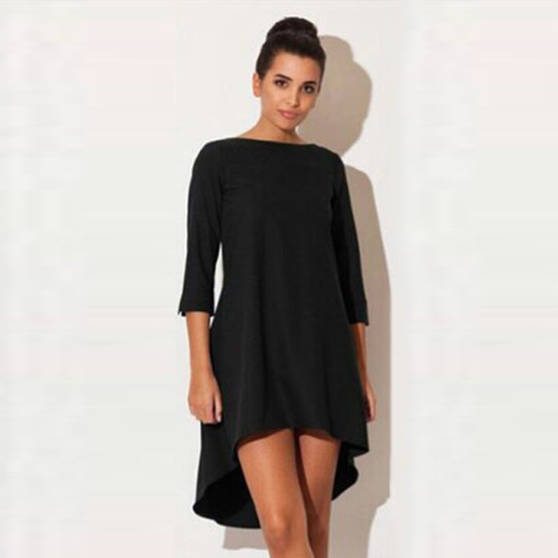 Fashion Women Dresses 2017 Sexy Loose Mini Irregular O-Neck Dress Summer Casual Elegant Dresses Plus Size LJ8789X 5