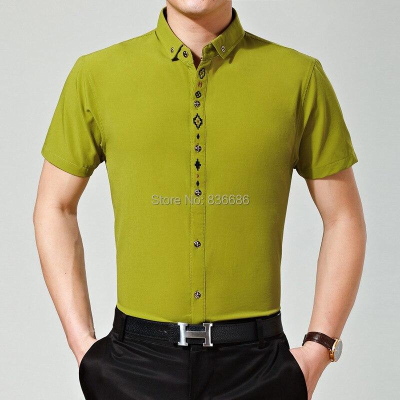 Летний Для мужчин офисные Вышивка конструкции одноцветное Цвет короткий рукав платье рубашка