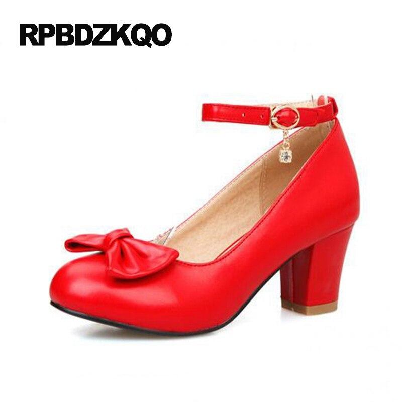 7e5929449a8d Plus Size Women White 12 44 4 34 Kawaii Cheap Red High Heels Shoes Korean  Chunky 11 43 Bow Ankle Strap Pumps 2017 Medium Round