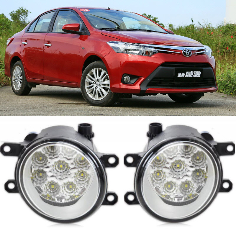 Car-Styling For Toyota Yaris Sedan 2014 2015 2016 9-Pieces Leds Chips LED Fog Head Lamp H11 H8 12V 55W Halogen Fog Lights fog light set 12v 55w car fog lights lamp for toyota hiace 2014 on clear lens wiring kit free shipping