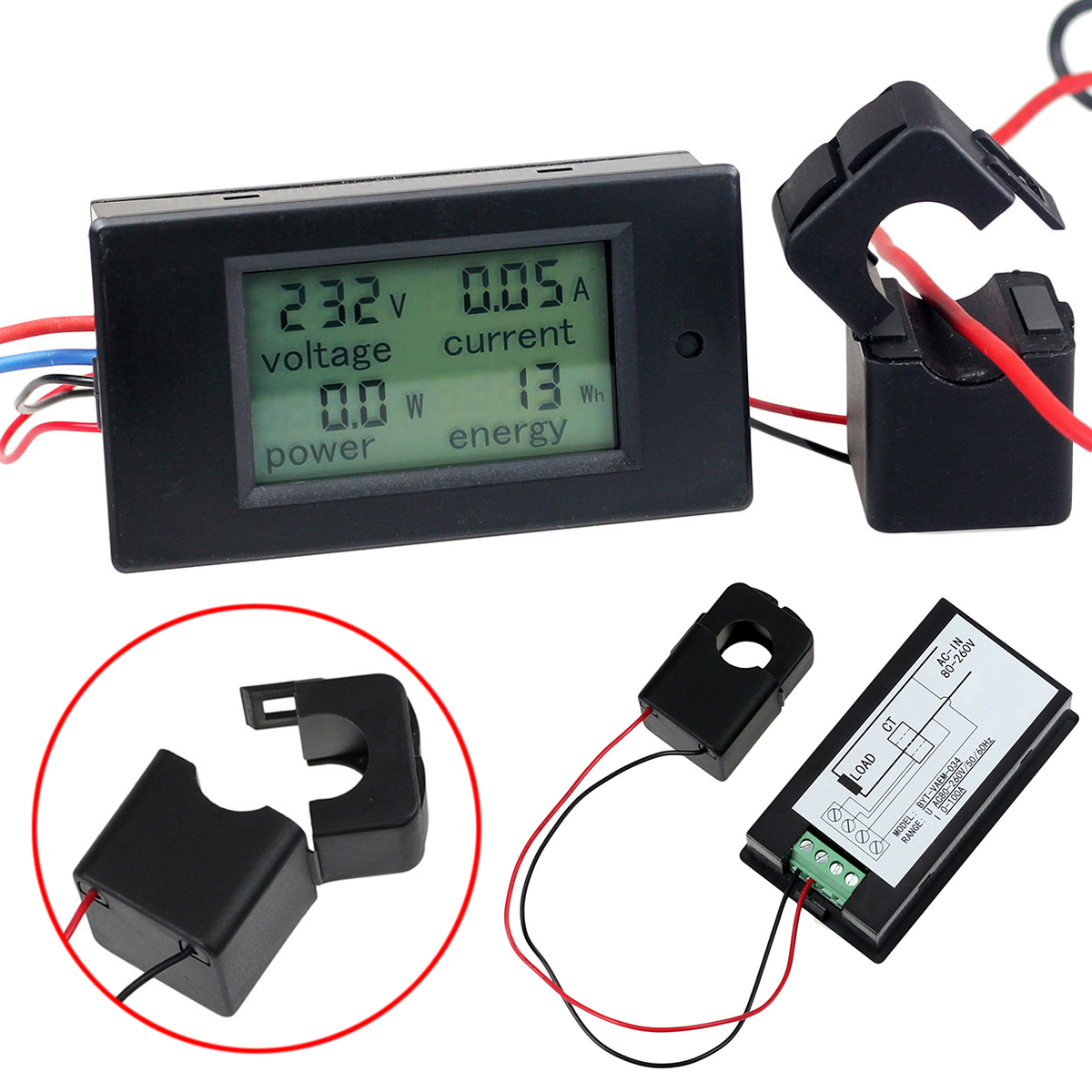 Digital AC 80-260V 100A Volt Amp Meter Power KWh Watt Meter Monitor Voltmeter Ammeter Open Close CT Voltage Indicator Mayitr voltmeter ammeter ac 110v 220v 20a 100a ac current voltage meter watt kwh monitor power factor frequency meter