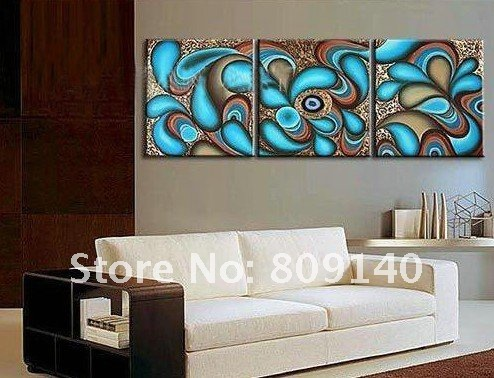 Modern Oil Painting Canvas Abstract Decoration Blue High Quality Hand  Painted Home Office Hotel Wall Art