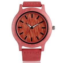 9917b532f73 Moda Khaki Bambu De Madeira Vermelho de Pulso de Quartzo Relógios com  Pulseira de Couro Relógio