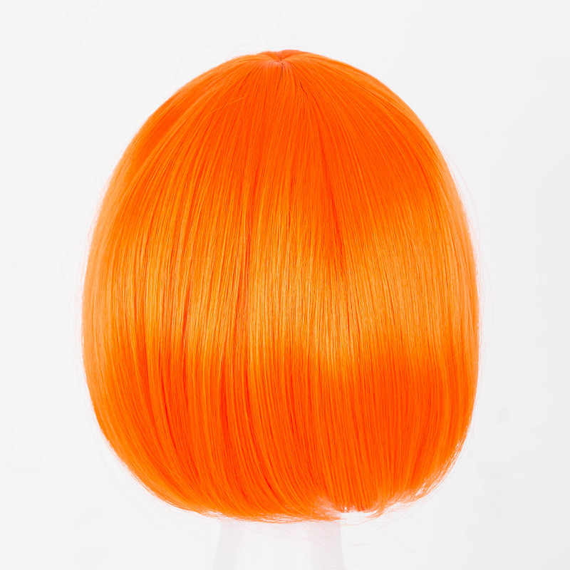 Peluca corta fei-show fibra sintética naranja ondulado inclinado flequillo Bob estudiante cabello disfraz Cos-play salón Peluca de fiesta Perruque