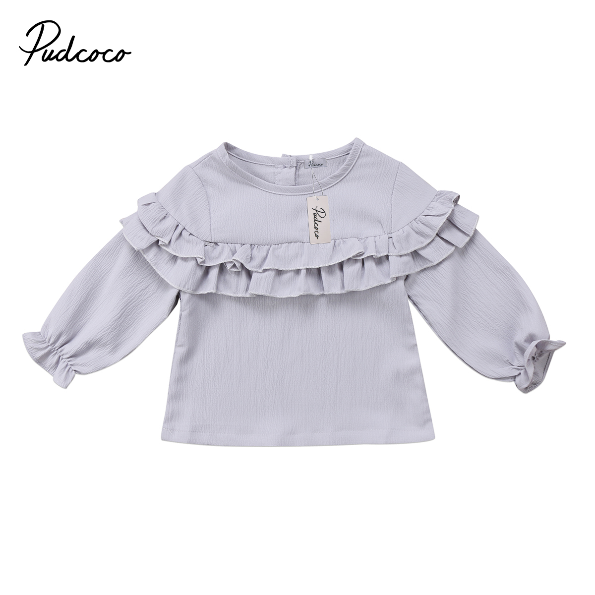 Pudcoco T-Shirt Toddler Baby-Girl Kid White Newborn Red 0-3T Tops Flounce Pure-Grey