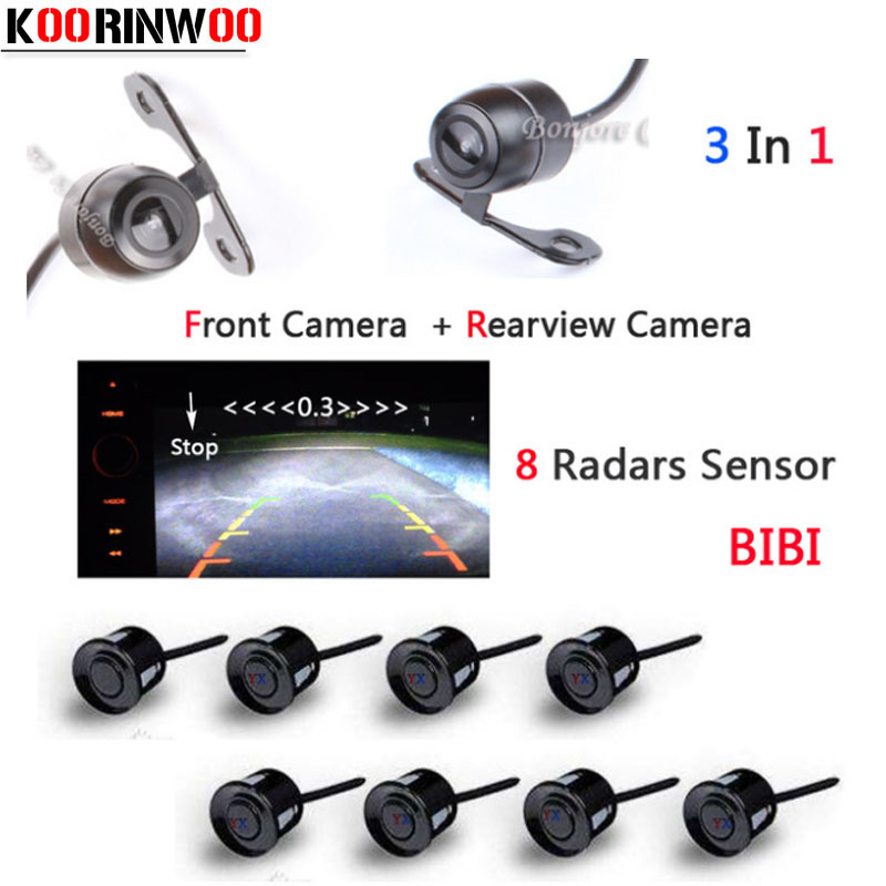 Koorinwoo Video Parktronic Sensors Radar Parking System 8 Sensors Front Camera Rear view Camera Parking Assistance Blind sensor park pilot parking front and rear 8 sensors update 8k pdc ops for skoda mqb octavia