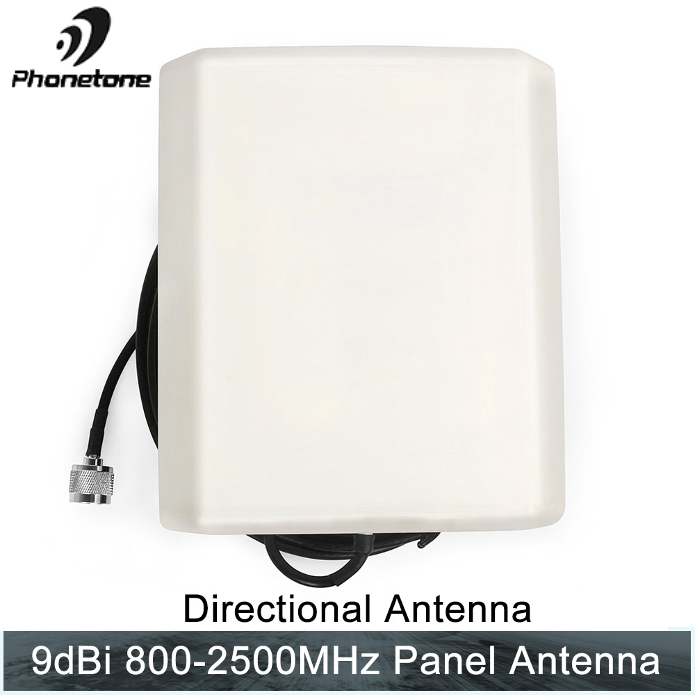 800-2500MHz 9dBi Directional Outdoor Panel Antenna External GSM 3G N Male Connector End & 10m Cable For Cellular Signal Booster