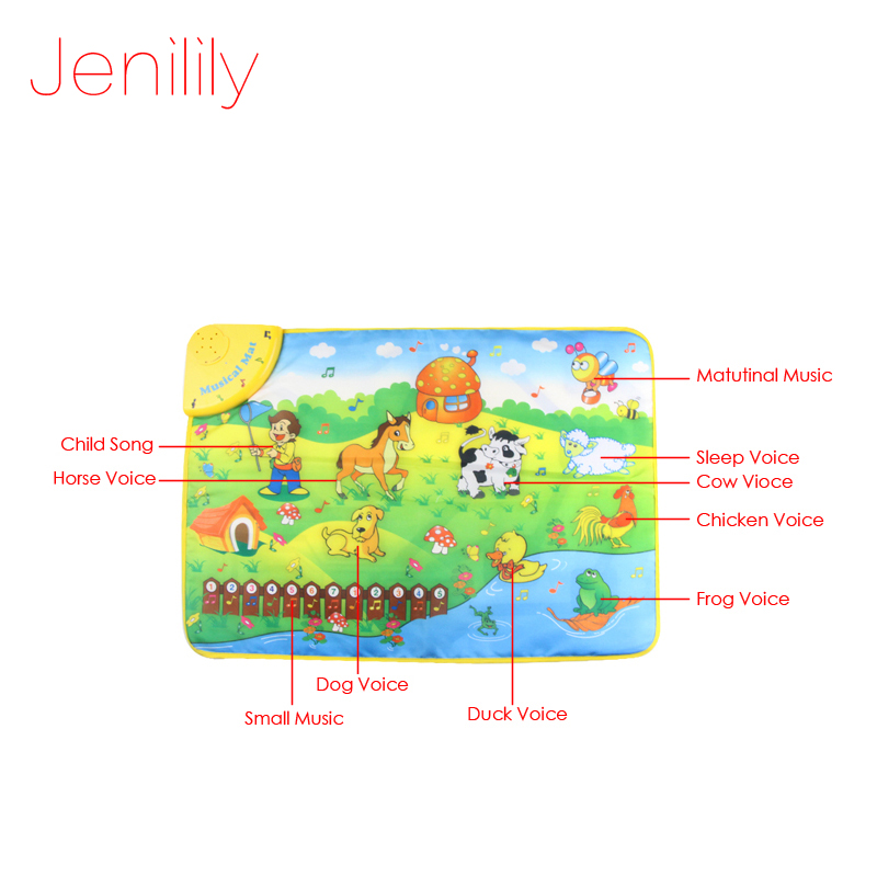 Jenilily JN1313NC 69x50cm Music Animal Voice Singing Piano Farm baby Play Gym Mat, Baby Game Carpet, baby Travel Gym Play | Happy Baby Mama