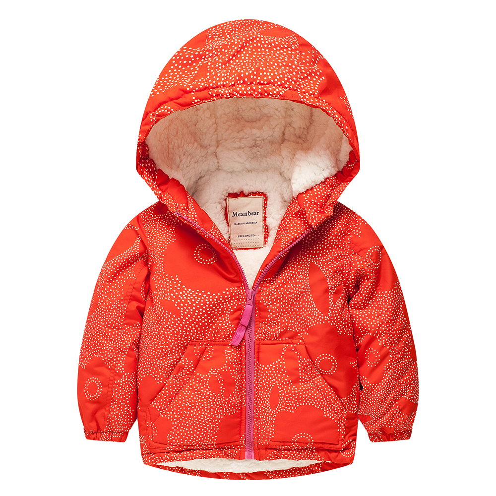 Meanbear M50 Fashion Wave Point Winter Cotton Chirden Thicken Padded Lining Jacket Hoodies Keep Warm Boy Girl Coat Tops Outwear m43 spring autumn winter child thicken padded lining jacket hoodies boy