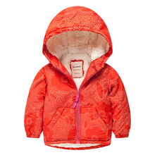 Meanbear MY08 Fashion Wave Point Winter Cotton Chirden Thicken Padded Lining Jacket Hoodies Keep Warm Boy Girl Coat Tops Outwear