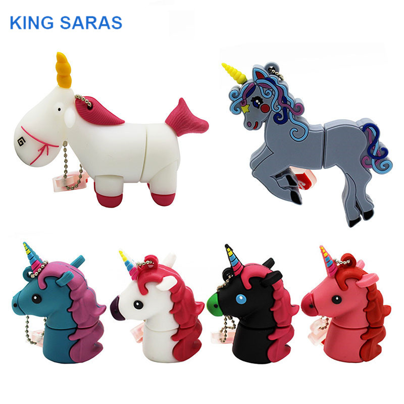 KING SARAS 64GB Cute Cartoom Unicorn Style Usb Flash Drive Usb 2.0 4GB 8GB 16GB 32GB Pendrive Gift Usb