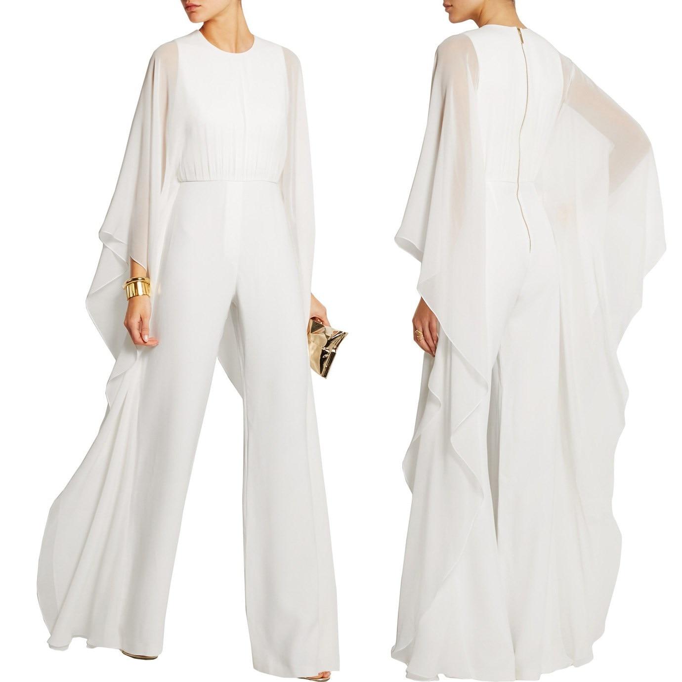 Hot Summer Women Ruffles Casual Fashion Business Jumpsuit Office Ladies Solid Wide Legs Loose Jumpsuits Chiffon Elegant Romper