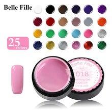 Belle Fille 25 Colors Painting Gel Paint Solid Pure Glitter UV Soak Off Gel Builder For Nail Art Design Sweet Color Gel Varnish