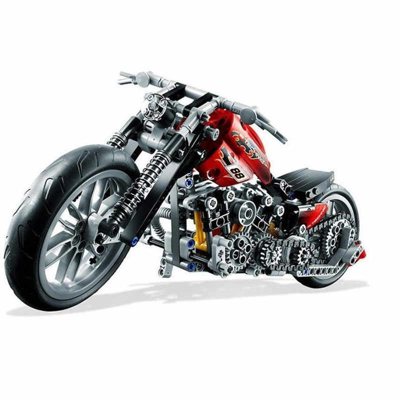 378pcs Compatible with Lego Technic Speed Motorcycle Exploiture Model Harley Vehicle Building Bricks Block Toy Gift