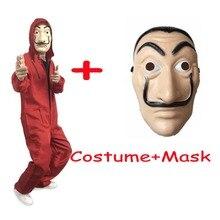 Купить с кэшбэком 2018 La Casa De Papel Salvador Dali Mask Costume Money Heist The House of Paper Cosplay Halloween Party Costumes With Face Mask