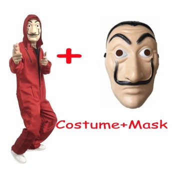 2018 La Casa De Papel Salvador Dali Mask Costume Money Heist The House of Paper Cosplay Halloween Party Costumes With Face Mask