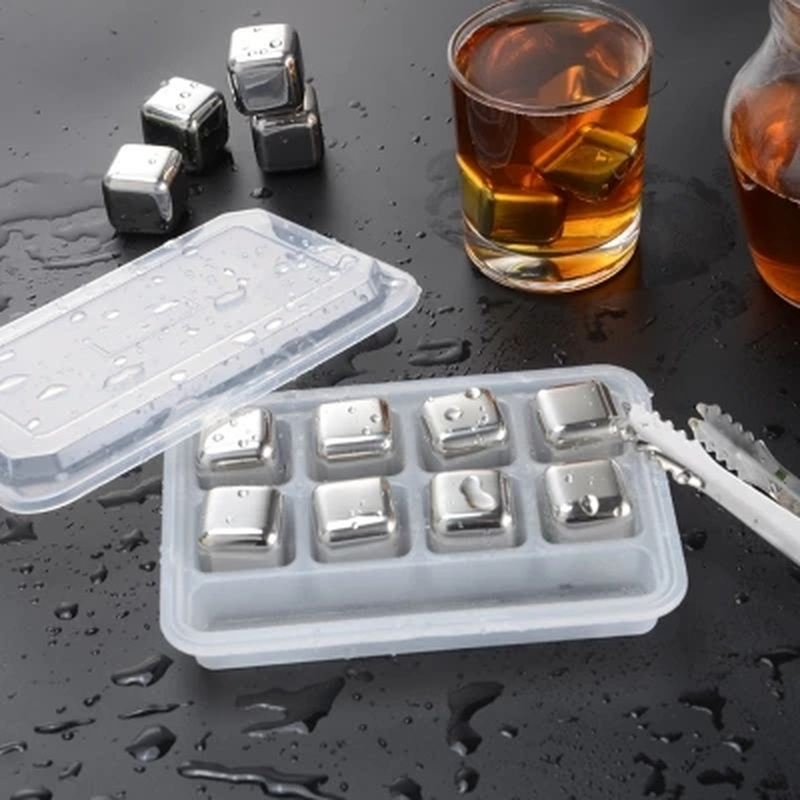 FDA Grade Whisky Wine Beer Cooler Ice Cubes Stone Stainless Steel 4/6/8pcs with Plastic Box Beer Cooling Chillers