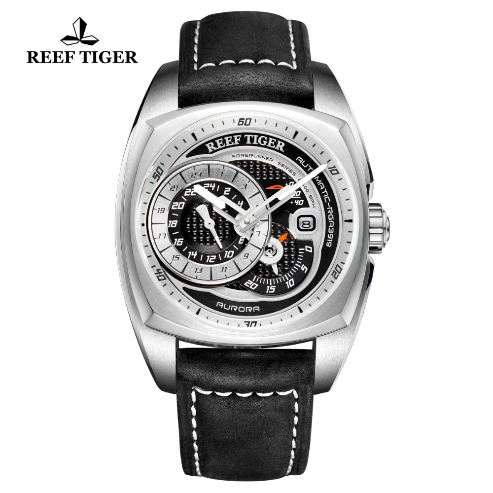 Reef Tiger RT Top Brand Mens Sport Watch Genuine Leather Strap Multi function Watch Automatic Mechanical