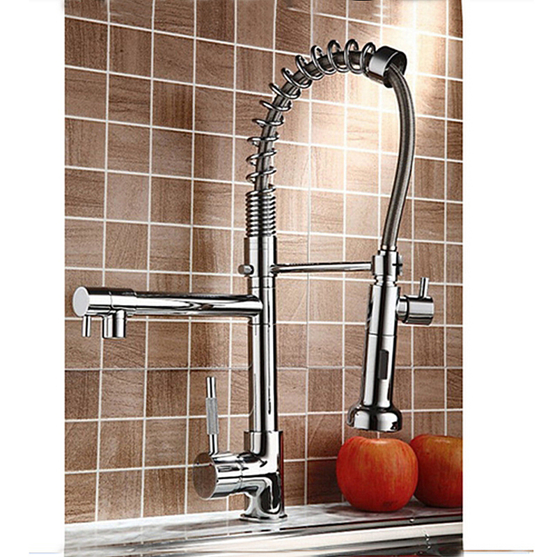 Solid Brass Kitchen Faucet Pull Out Swivel Spout Mixer Tap Deck Mount Sink Mixer Tap Pull Down Spray Hot and cold water 360 swivel solid brass spring kitchen faucet sink mixer tap swivel spout mixer tap hot and cold water torneira page 1