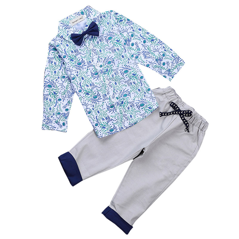 2017 Spring New Children Clothing Set Kids Party Gentleman Long-sleeved Shirt + Pants Suit with Tie Printed Shirt for Baby Boys 2016 new children s clothing boys long sleeved t shirt large child bottoming shirt spring striped shirt tide