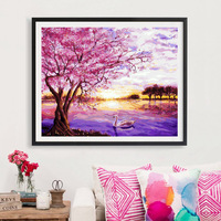 Full Diamond Painting Cherry Blossoms With Lake Diy Diamond Embroidery Modern Style Decorative To Make Romance For The Wedding