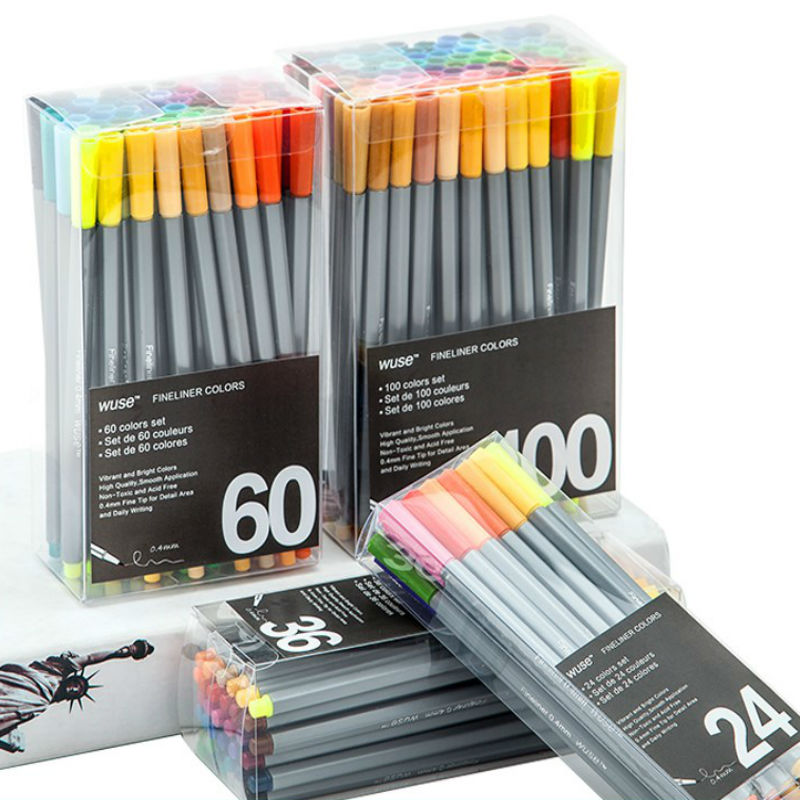 0.4 Mm 24/36/60/100Pcs Colors Fineliner Pens Marco Super Fine Draw Marker Pen Color Needle Pen Water Based Assorted Ink No-tox original for teneth cutting plotter sai flexistarter contour cutting plotter flexi starter software could version