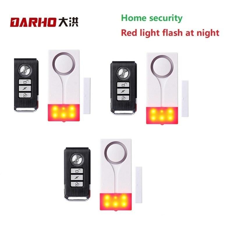 Darho 3pcs Wholesale 433mhz Home Security Alarm Red Flash With Sound Window Door Magnet Sensor Detector Wireless Alarm