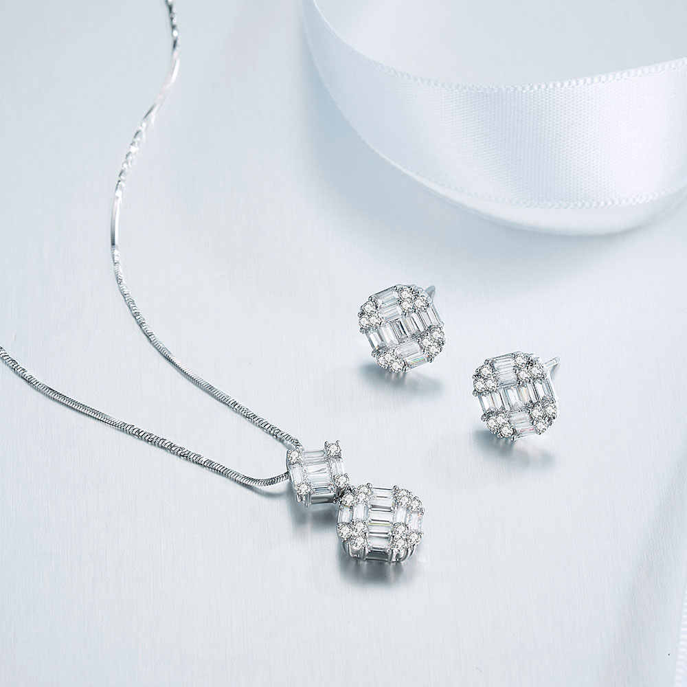 Viennois 925 Silber Pendent Halskette Set Für Frauen Strass Stud Ohrringe Halskette Set Partei Schmuck Set 2019
