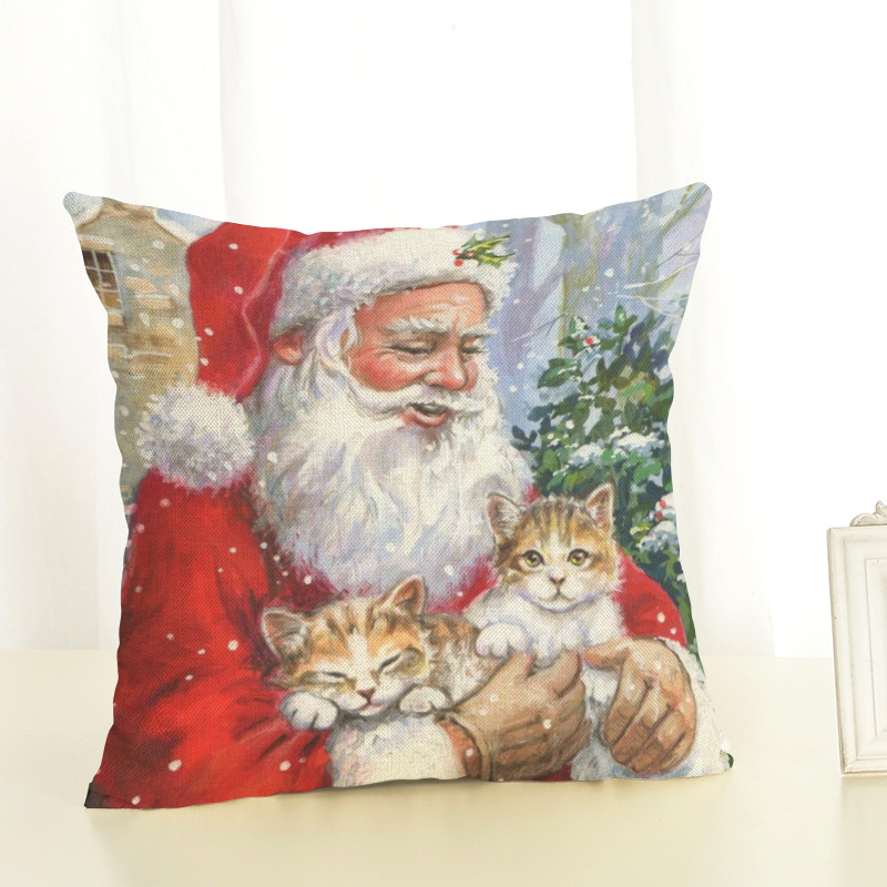 New Year Christmas Decorations For Home Christmas Pillow cover Santa Claus and Dog Cotton Linen Pillowcase Office Home Cushion (9)