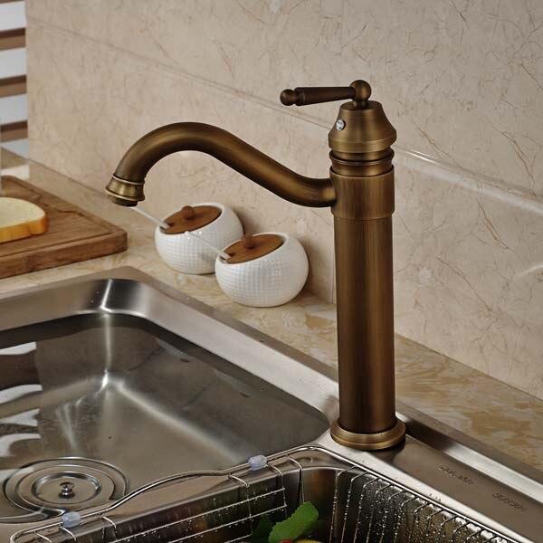 Antique Bronze Swivel Spout  Kitchen Sink Faucet Single Handle Vessel Sink Mixer Tap Hole Tap new pull out sprayer kitchen faucet swivel spout vessel sink mixer tap single handle hole hot and cold