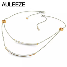 Forever Classic Double Line Design Women Pendant Necklace 14K Solid Two-tone Gold Necklace Natural Real Diamond 18′ Gold Chain