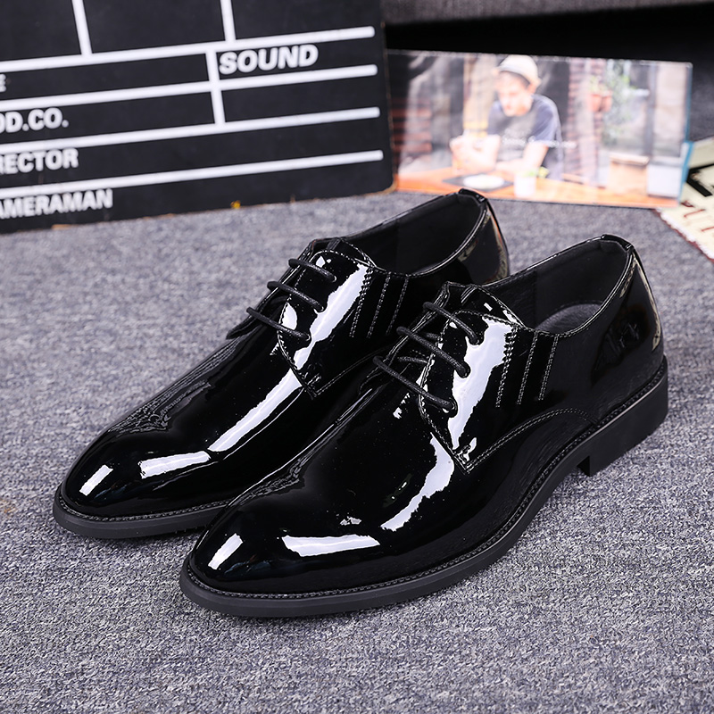 ФОТО Bright Plain Leather Shoes Men Pointed Toe Formal Dress Shoes Fashion Basic Simple England Design Young Man Shoes