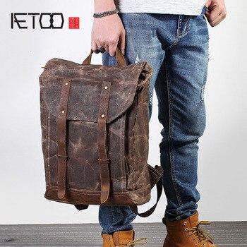 AETOO Retro men canvas shoulder bag trend leisure bag crazy horse literary computer bag man bag travel backpack vintage