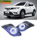 2em1 eeMrke Angel Eyes DRL Para Nissan Rogue X-Trail 2014 2015 2016 Halogênio/Lâmpada LED Fog Luz de Circulação Diurna luzes