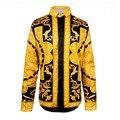 Onda da moda Camisa Camisa Dos Homens Retro Barroco Real de Ouro Masculino flores Impressão Camisas Luxo Casual Manga Comprida Fit Camisas Extravagantes homens