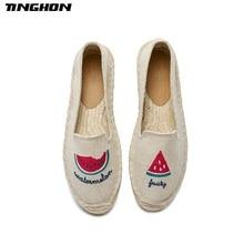 TINGHON Fashion Women Ladies Espadrille Shoes Canvas Embroidery watermelon Rome Ankle Strap Hemps Flats
