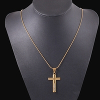 Crucifix 18k Yellow Gold Filled Cross Pendant Necklace Chain For Men And Women