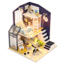 Doll House Loft Miniature Assemble Toys 3D Handmade Wooden Mini Dollhouse Toy with Furniture Led Lights for Kids Birthday Gift(China)